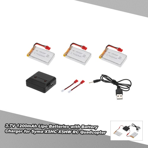 3pcs 3.7V 1200mah Lipo Batteries &amp; 2 in 1 Battery Charger for Syma X5HC X5HW RC QuadcopterToys &amp; Hobbies<br>3pcs 3.7V 1200mah Lipo Batteries &amp; 2 in 1 Battery Charger for Syma X5HC X5HW RC Quadcopter<br>