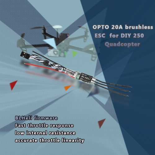 4Pcs OPTO 20A Brushless ESC Electronic Speed Controller with BLHeli Program for QAV250 330 RC QuadcopterToys &amp; Hobbies<br>4Pcs OPTO 20A Brushless ESC Electronic Speed Controller with BLHeli Program for QAV250 330 RC Quadcopter<br>