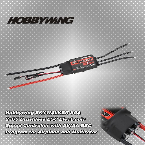 Original Hobbywing SKYWALKER 80A 2~6S Brushless ESC Electronic Speed Controller with 5V/5A BEC Program for AirplaneToys &amp; Hobbies<br>Original Hobbywing SKYWALKER 80A 2~6S Brushless ESC Electronic Speed Controller with 5V/5A BEC Program for Airplane<br>
