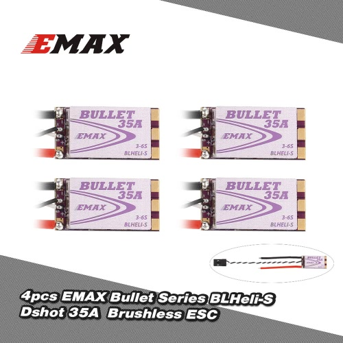 4Pcs EMAX 35A Brushless ESC Bullet Series BLHeli-S Dshot 3-6S Electric Speed Controller for 210 QAV250 280 FPV Racer QuadcopterToys &amp; Hobbies<br>4Pcs EMAX 35A Brushless ESC Bullet Series BLHeli-S Dshot 3-6S Electric Speed Controller for 210 QAV250 280 FPV Racer Quadcopter<br>