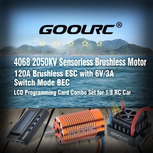GoolRC 4068 2050KV Sensorless Brushless Motor &amp; 120A Brushless ESC with 6V/3A Switch Mode BEC &amp; LCD Programming Card Combo Set forToys &amp; Hobbies<br>GoolRC 4068 2050KV Sensorless Brushless Motor &amp; 120A Brushless ESC with 6V/3A Switch Mode BEC &amp; LCD Programming Card Combo Set for<br>