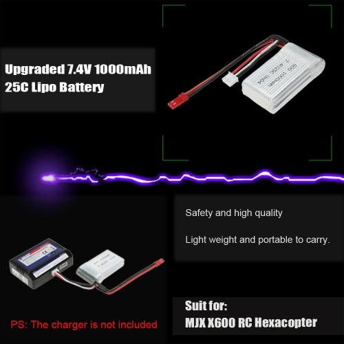 Upgraded 7.4V 1000mAh 25C Lipo Battery for MJX X600 RC HexacopterToys &amp; Hobbies<br>Upgraded 7.4V 1000mAh 25C Lipo Battery for MJX X600 RC Hexacopter<br>