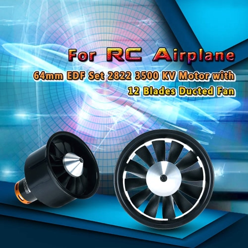 64mm EDF Set 2822 3500KV Motor with 12 Blades Ducted Fan for RC AirplaneToys &amp; Hobbies<br>64mm EDF Set 2822 3500KV Motor with 12 Blades Ducted Fan for RC Airplane<br>