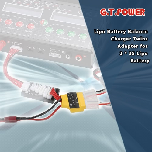 G.T.POWER RC Lipo Battery Balance Charger Twins Adapter for 2 * 3S Lipo BatteryToys &amp; Hobbies<br>G.T.POWER RC Lipo Battery Balance Charger Twins Adapter for 2 * 3S Lipo Battery<br>