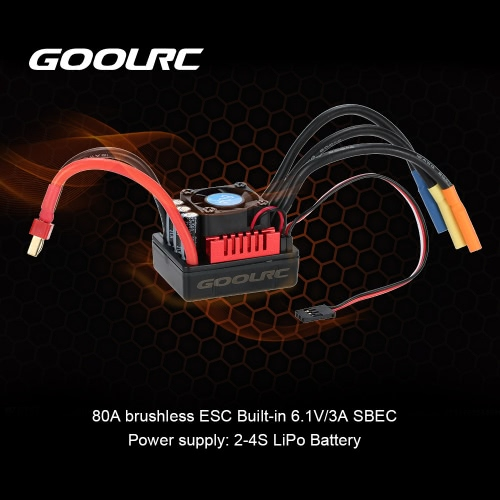 GoolRC S-80A Brushless ESC Electric Speed Controller with 6.1V/3A SBEC for 1/8 RC CarToys &amp; Hobbies<br>GoolRC S-80A Brushless ESC Electric Speed Controller with 6.1V/3A SBEC for 1/8 RC Car<br>