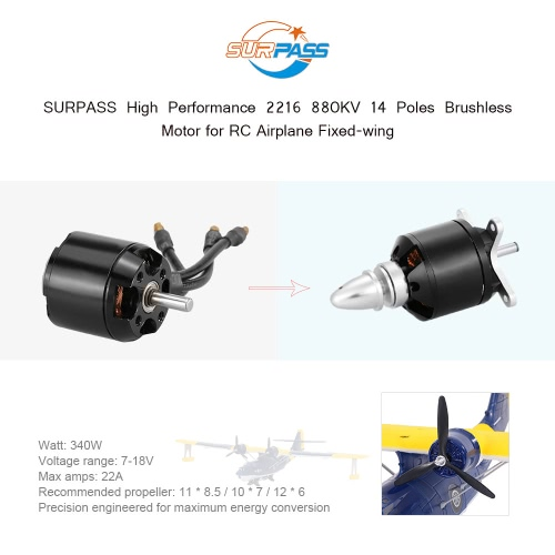 Original SURPASS High Performance 2216 880KV 14 Poles Brushless Motor for RC Airplane Fixed-wingToys &amp; Hobbies<br>Original SURPASS High Performance 2216 880KV 14 Poles Brushless Motor for RC Airplane Fixed-wing<br>