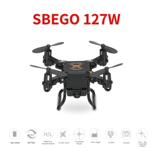 SBEGO 127W 2.4G 4CH 6-Axis Gyro 0.3MP Wifi FPV Foldable RC Quadcopter RTF Drone with 3D-Flip Headless Mode and One-Key ReturnToys &amp; Hobbies<br>SBEGO 127W 2.4G 4CH 6-Axis Gyro 0.3MP Wifi FPV Foldable RC Quadcopter RTF Drone with 3D-Flip Headless Mode and One-Key Return<br>