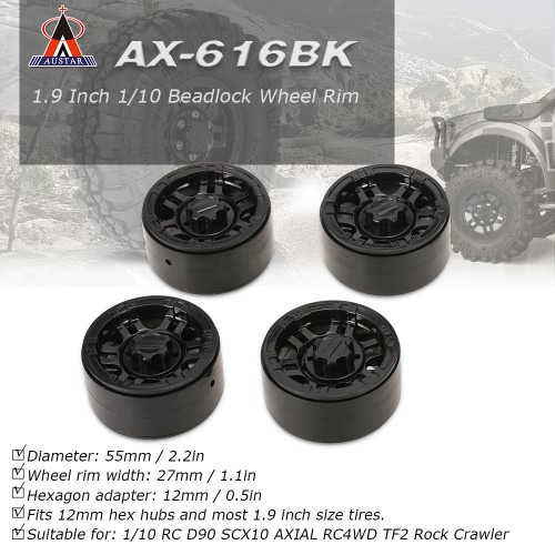 4Pcs AUSTAR AX-616GL 1.9 Inch 1/10 Rock Crawler Plating Beadlock Wheel Rim Hub for D90 SCX10 AXIAL RC4WD TF2 RC CarToys &amp; Hobbies<br>4Pcs AUSTAR AX-616GL 1.9 Inch 1/10 Rock Crawler Plating Beadlock Wheel Rim Hub for D90 SCX10 AXIAL RC4WD TF2 RC Car<br>