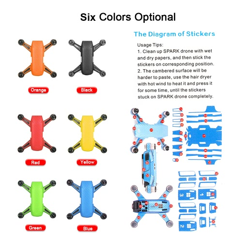 Protective Skin Sticker Cover Set &amp; Motor Protective Cap for DJI Spark FPV QuadcopterToys &amp; Hobbies<br>Protective Skin Sticker Cover Set &amp; Motor Protective Cap for DJI Spark FPV Quadcopter<br>