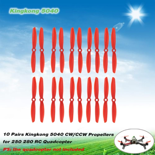 10 Pairs Kingkong 5040 CW/CCW Propellers for QAV250 280 RC QuadcopterToys &amp; Hobbies<br>10 Pairs Kingkong 5040 CW/CCW Propellers for QAV250 280 RC Quadcopter<br>