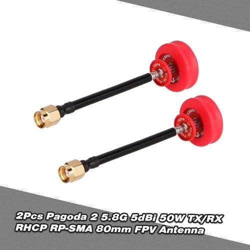 2Pcs Pagoda 2 5.8G 5dBi 50W Omnidirectional TX/RX RHCP RP-SMA 80mm FPV Antenna for RC FPV Racing Drone GogglesToys &amp; Hobbies<br>2Pcs Pagoda 2 5.8G 5dBi 50W Omnidirectional TX/RX RHCP RP-SMA 80mm FPV Antenna for RC FPV Racing Drone Goggles<br>
