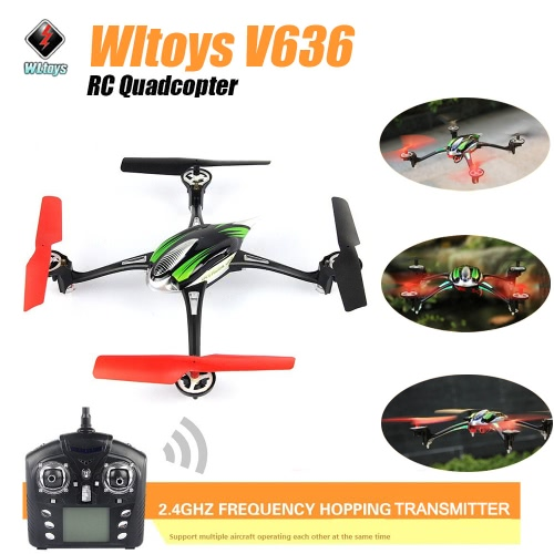 Original WLtoys scuderia eccellente quadcopter Aereo  drone  volo giocattolo V636 2.4G 4CH 6 assi Gyro W / Modo senza testa /luci a LED