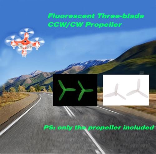 Fluorescent Three-blade CCW/CW Propeller Set for Cheerson CX-10/CX-10A/CX-10C JJRC H20/H7/JJ820/JJ810 WLtoys V646/V676 RC QuadcoptToys &amp; Hobbies<br>Fluorescent Three-blade CCW/CW Propeller Set for Cheerson CX-10/CX-10A/CX-10C JJRC H20/H7/JJ820/JJ810 WLtoys V646/V676 RC Quadcopt<br>