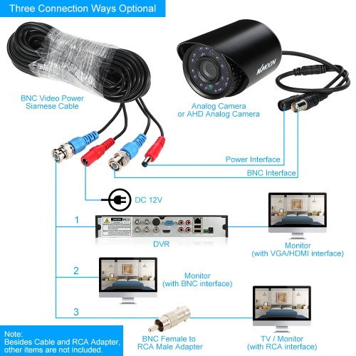 Video Power Siamese BNC Cable 65ft 20m for Analog AHD Surveillance CCTV Camera DVR KitSmart Device &amp; Safety<br>Video Power Siamese BNC Cable 65ft 20m for Analog AHD Surveillance CCTV Camera DVR Kit<br>