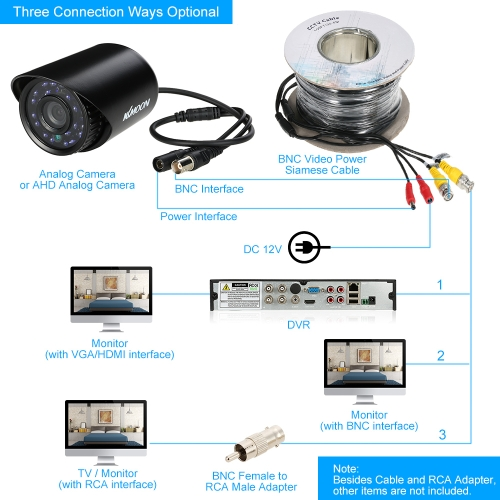 Video Power Siamese BNC Cable 30m for Analog AHD Surveillance CCTV Camera DVR KitSmart Device &amp; Safety<br>Video Power Siamese BNC Cable 30m for Analog AHD Surveillance CCTV Camera DVR Kit<br>