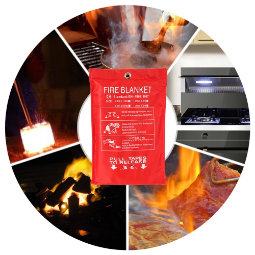 Fiberglass Fire Blanket Fire Flame Retardant Emergency Survival Fire Shelter Safety Cover 39.3*39.3 InchesSmart Device &amp; Safety<br>Fiberglass Fire Blanket Fire Flame Retardant Emergency Survival Fire Shelter Safety Cover 39.3*39.3 Inches<br>