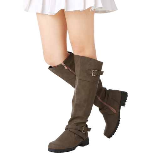 Women Round Toe Mid Calf Boots Female Matte Leather Knight Boot Ms Buckle Square Low Heel Shoes Heeled FootwearApparel &amp; Jewelry<br>Women Round Toe Mid Calf Boots Female Matte Leather Knight Boot Ms Buckle Square Low Heel Shoes Heeled Footwear<br>