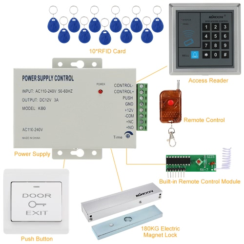 KKmoon® DC12V 125KHz Door Entry Access Control SystemSmart Device &amp; Safety<br>KKmoon® DC12V 125KHz Door Entry Access Control System<br>