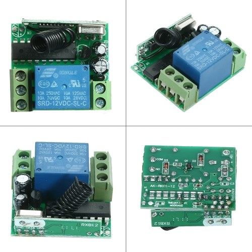 Wireless Remote Switch Relay Receiver and 2PCS RF Transmitter Remote Controls