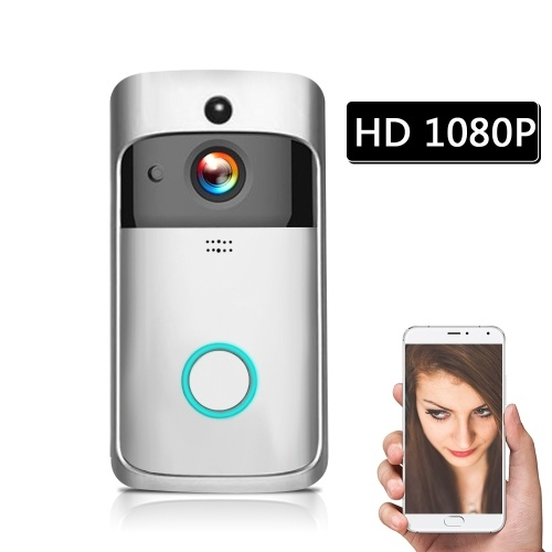 HD 1080P  WiFi Smart Wireless Security DoorBell with batteries Silver