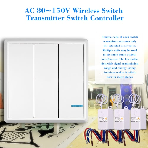 AC 80~150V Wireless Switch Transmitter Switch Receiver Controller No Wiring Remote Control Waterproof House Lighting &amp; AppliancesSmart Device &amp; Safety<br>AC 80~150V Wireless Switch Transmitter Switch Receiver Controller No Wiring Remote Control Waterproof House Lighting &amp; Appliances<br>