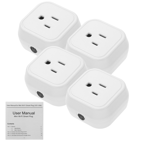 Mini Wifi Smart US Plug Voice Control for Amazon Alexa for Google Home/Nest IFTTT For TP-Link (4 Pack)Smart Device &amp; Safety<br>Mini Wifi Smart US Plug Voice Control for Amazon Alexa for Google Home/Nest IFTTT For TP-Link (4 Pack)<br>