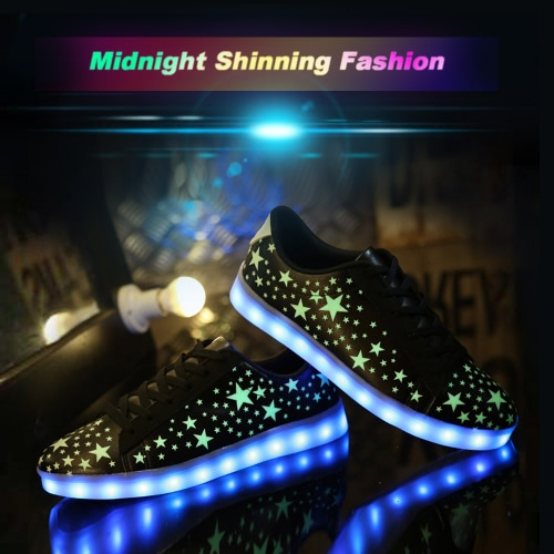 Fashion Fluorescent Stars Pattern USB Rechargeable 7 Colors LED Light Up Sneakers Shoes for UnisexApparel &amp; Jewelry<br>Fashion Fluorescent Stars Pattern USB Rechargeable 7 Colors LED Light Up Sneakers Shoes for Unisex<br>