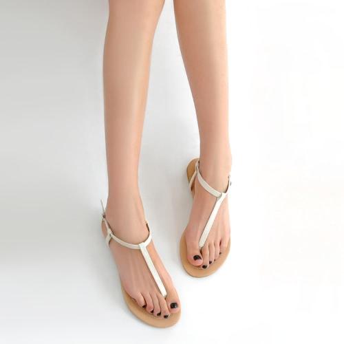 Nueva moda mujer plano Sandalias correa del dedo del pie Post hebilla fijación Simple zapatos Flats blanco/negro