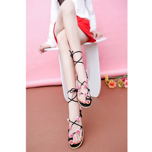 New Summer Women Flats Sandals PU Leather Lace Up Strap Flower Round Toe Flip Flop Shoes Black/BrownApparel &amp; Jewelry<br>New Summer Women Flats Sandals PU Leather Lace Up Strap Flower Round Toe Flip Flop Shoes Black/Brown<br>