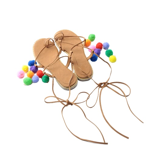 New Fashion Women Flat Sandals Colorful Bobble Pompon Lace Up Strappy Clip Toe Casual Summer Beach Shoes Black/BrownApparel &amp; Jewelry<br>New Fashion Women Flat Sandals Colorful Bobble Pompon Lace Up Strappy Clip Toe Casual Summer Beach Shoes Black/Brown<br>