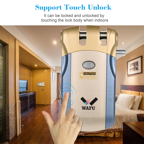 WAFU Wireless Security Invisible Keyless Entry Door Lock Home Smart Remote Control Lock with 4 Remote KeysSmart Device &amp; Safety<br>WAFU Wireless Security Invisible Keyless Entry Door Lock Home Smart Remote Control Lock with 4 Remote Keys<br>
