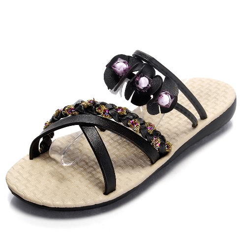 Fashion Women Flat Sandals Flower Beading Cross Woven Strap Flat ShoesApparel &amp; Jewelry<br>Fashion Women Flat Sandals Flower Beading Cross Woven Strap Flat Shoes<br>