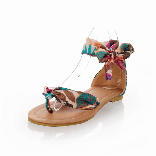 New Summer Women Flat Sandals Splice Leaf Print Bow-Knot Flip Flop Shoes Red/Yellow/BlueApparel &amp; Jewelry<br>New Summer Women Flat Sandals Splice Leaf Print Bow-Knot Flip Flop Shoes Red/Yellow/Blue<br>