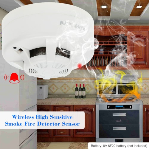 KKmoon  Wireless Cordless High Sensitive Smoke Fire Detector Sensor Alarm System Home SecuritySmart Device &amp; Safety<br>KKmoon  Wireless Cordless High Sensitive Smoke Fire Detector Sensor Alarm System Home Security<br>