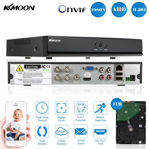 KKmoon 4CH Channel Full 1080N/720P AHD DVR HVR NVR HD P2P Cloud Network Onvif Digital Video Recorder + 1TB Hard Disk support PlugSmart Device &amp; Safety<br>KKmoon 4CH Channel Full 1080N/720P AHD DVR HVR NVR HD P2P Cloud Network Onvif Digital Video Recorder + 1TB Hard Disk support Plug<br>