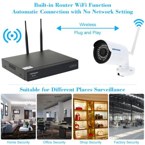 szsinocam 4CH H.264 Wireless WiFi NVR Kit CCTV Security System with 4pcs HD 720P Surveillance IP CameraSmart Device &amp; Safety<br>szsinocam 4CH H.264 Wireless WiFi NVR Kit CCTV Security System with 4pcs HD 720P Surveillance IP Camera<br>