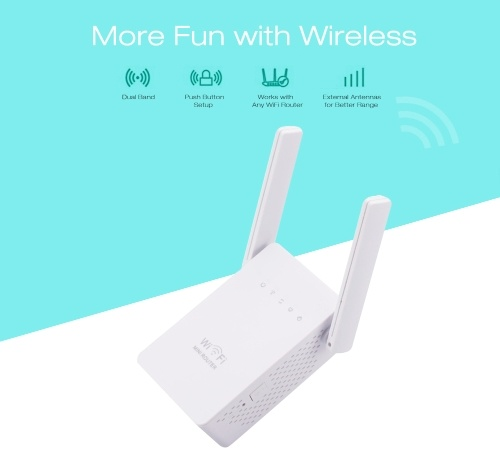300Mbps WiFi Router Dual Band 2.4/5G Wireless Range Extender EU Plug