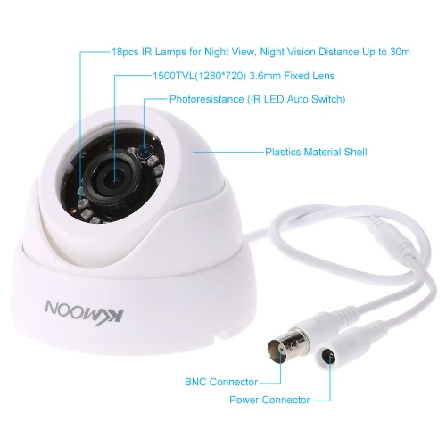 KKmoon  720P 1500TVL Dome AHD Surveillance Camera 1.0MP CCTV Security Indoor 18 IR Lamps Night Vision 1/4'' CMOS IR-CUT NTSC SysteSmart Device &amp; Safety<br>KKmoon  720P 1500TVL Dome AHD Surveillance Camera 1.0MP CCTV Security Indoor 18 IR Lamps Night Vision 1/4'' CMOS IR-CUT NTSC Syste<br>