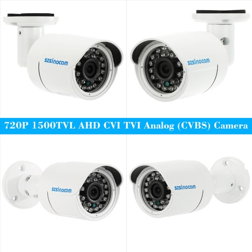 szsinocam  1500TVL 720P AHD CVI TVI Analog (CVBS) Bullet CCTV Camera OSD Menu 1.0MP 24 IR LEDs 1/4'' CMOS IR-CUT Night Vision WateSmart Device &amp; Safety<br>szsinocam  1500TVL 720P AHD CVI TVI Analog (CVBS) Bullet CCTV Camera OSD Menu 1.0MP 24 IR LEDs 1/4'' CMOS IR-CUT Night Vision Wate<br>
