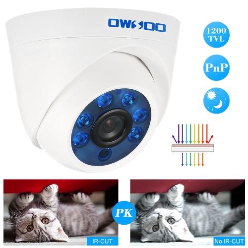OWSOO  1200TVL Dome Surveillance Camera 3.6mm 1/3'' CMOS 6 Array IR LEDS Night Vision IR-CUT Indoor CCTV Security NTSC SystemSmart Device &amp; Safety<br>OWSOO  1200TVL Dome Surveillance Camera 3.6mm 1/3'' CMOS 6 Array IR LEDS Night Vision IR-CUT Indoor CCTV Security NTSC System<br>