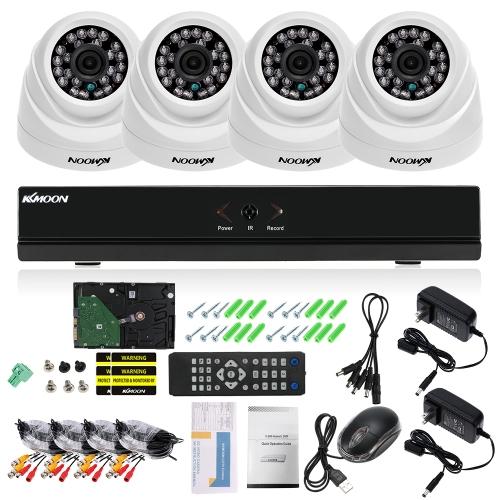 KKmoon 4CH Kanal Full 1080 N AHD DVR HVR NVR + 4 * 1800TVL AHD Dome IR CCTV Kamera + 4 * 60ft Überwachungskabel + 1 TB Festplatte Unterstützung