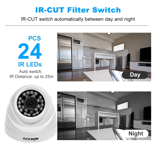 KKmoon 4CH Channel Full 1080N AHD DVR HVR NVR + 4*1800TVL AHD Dome IR CCTV Camera + 4*60ft Surveillance Cable + 1TB Hard Drive SupSmart Device &amp; Safety<br>KKmoon 4CH Channel Full 1080N AHD DVR HVR NVR + 4*1800TVL AHD Dome IR CCTV Camera + 4*60ft Surveillance Cable + 1TB Hard Drive Sup<br>