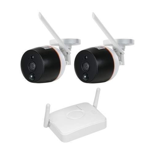 4CH Wifi Mini NVR Kit Video Surveillance  with 2PCS 1080P Wireless IP Camera Set