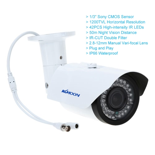 KKmoon TP-W225BK 2.8-12mm 1200TVL 1/3 SONY 42IR Outdoor Waterproof Varifocal CCTV CameraSmart Device &amp; Safety<br>KKmoon TP-W225BK 2.8-12mm 1200TVL 1/3 SONY 42IR Outdoor Waterproof Varifocal CCTV Camera<br>