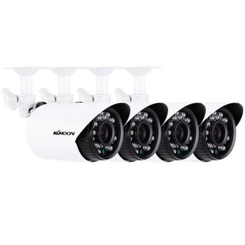 KKmoon® 4pcs / lot 700TVL caméras CMOS 3,6 mm étanche IP66 IR-CUT filtre jour / nuit extérieur / intérieur Accueil sécurité CCTV Bullet caméra Kit