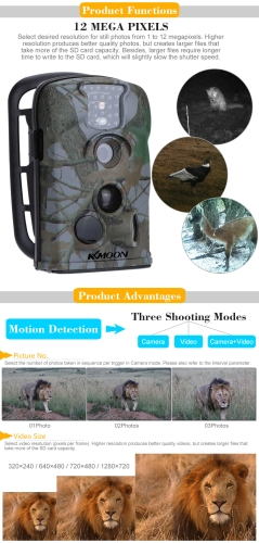 KKmoon 12MP Trail Camera 940NM Portable Game Cameras Wildlife Scouting Camera Hunting Camera Video Recorder HD Digital Infrared IRSmart Device &amp; Safety<br>KKmoon 12MP Trail Camera 940NM Portable Game Cameras Wildlife Scouting Camera Hunting Camera Video Recorder HD Digital Infrared IR<br>