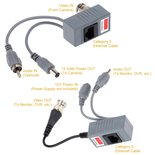 CCTV Camera Audio Video Power Balun Transceiver BNC UTP RJ45 with Audio Video and Power over CAT5/5E/6 CableSmart Device &amp; Safety<br>CCTV Camera Audio Video Power Balun Transceiver BNC UTP RJ45 with Audio Video and Power over CAT5/5E/6 Cable<br>