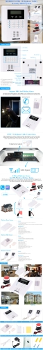 KKmoon Quad-4-Bands GSM PSTN LCD Display Wireless Home Security Alarm Burglar System 101 Zone 99 Wireless Zone And 2 WiredSmart Device &amp; Safety<br>KKmoon Quad-4-Bands GSM PSTN LCD Display Wireless Home Security Alarm Burglar System 101 Zone 99 Wireless Zone And 2 Wired<br>