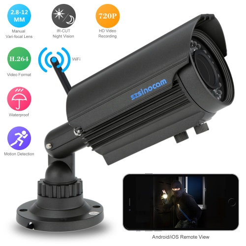 H.264 HD 720P Megapiexl 2.8-12mm Zoom Bullet Waterproof Wifi Camera with 36IR LEDs Home SecuritySmart Device &amp; Safety<br>H.264 HD 720P Megapiexl 2.8-12mm Zoom Bullet Waterproof Wifi Camera with 36IR LEDs Home Security<br>