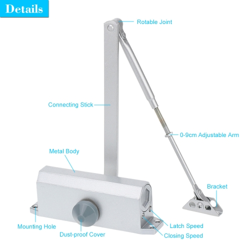 Automatic Hydraulic Arm Door Closer Mechanical Speed Control Up to 85KGSmart Device &amp; Safety<br>Automatic Hydraulic Arm Door Closer Mechanical Speed Control Up to 85KG<br>